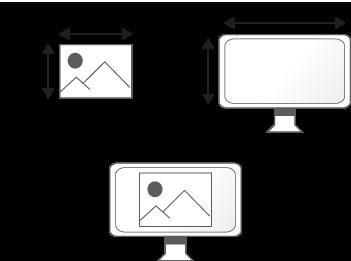 Une image dont sa définition est plus petite que celle de l'écran sur laquelle elle est projetée