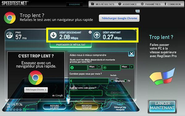 Test connexion Internet avec Speedtest