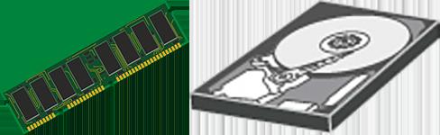 Barette de mémoire vive (RAM) et disque dur (hard drive)