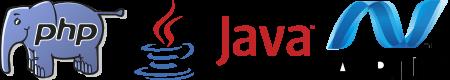 Langage PHP, langage Java, langage ASP