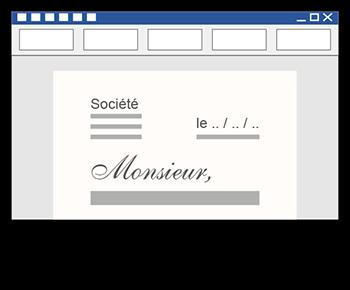 écriture d'un courrier dans Microsoft Word