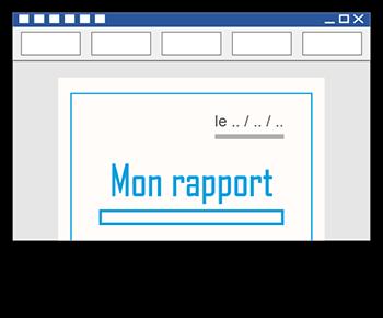 écriture d'un rapport dans Microsoft Word