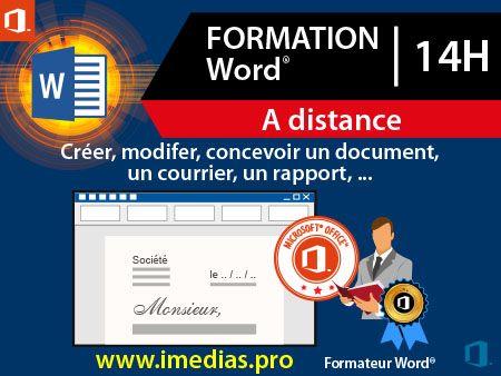 Formation Word débutant (niveau 1) - 14h - à distance