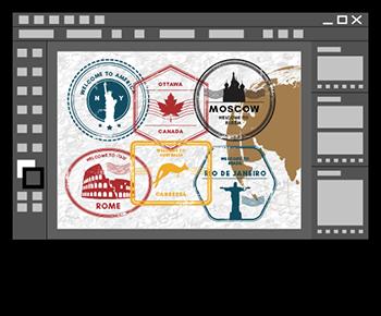 Tampons visas de pays avec Illustrator