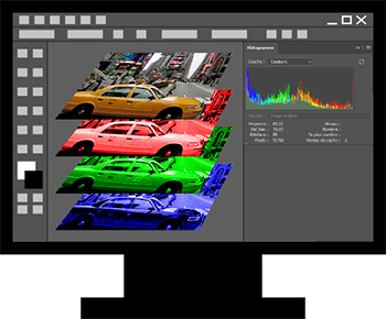 Les couches de couleurs et l'histogramme d'une image avec Photoshop
